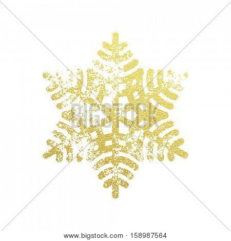 Golden shining snowflake covered with glitter. Christmas decoration with shining sparkling light effect. Vector isolated icon. New Year golden glittering ornament on white background