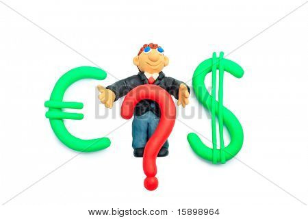 Shot of a plasticine businessman in a suit with money symbols. Isolated over white background.