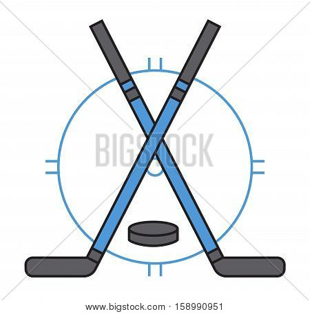 Template logo for hockey sport team symbol. Tournament competition graphic champion logo badge icon. Vector athletes play college club professional game.