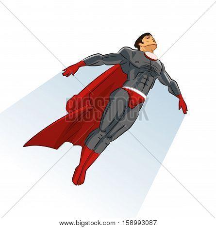 Flying superhero. In Sky. Comic book. Vector illustration