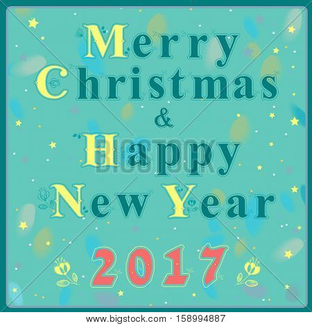 Christmas and New Year greeting card. Blue and yellow artistic font with floral decor. Red numerals - 2017. Blue background with watercolor numerals. illustration.