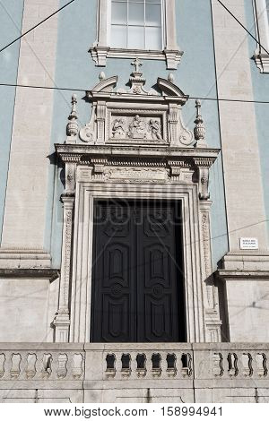 Lateral classic door to the Church of the Italians (Our Lady of Loreto) in Lisbon Portugal