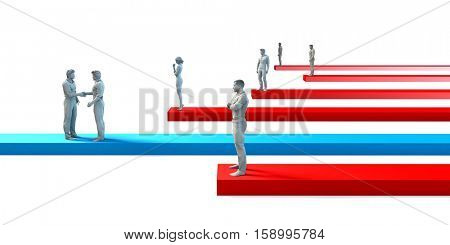 Business Challenges and Succeeding Over Your Competitors 3D Illustration Render