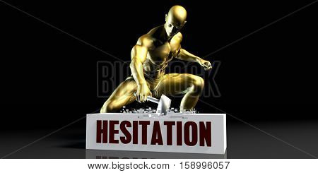 Eliminating Stopping or Reducing Hesitation as a Concept 3D Illustration Render