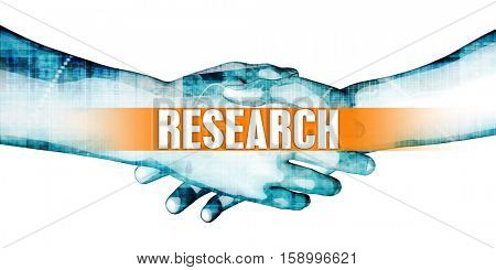 Research Concept with Businessmen Handshake on White Background