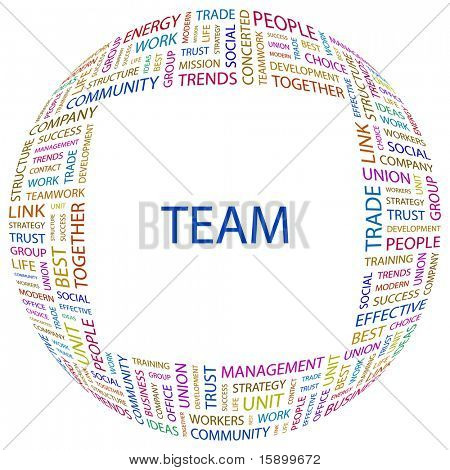 TEAM. Word collage on white background. Vector illustration. Illustration with different association terms.
