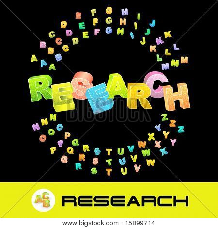 RESEARCH. Vector 3d illustration with colored alphabet.