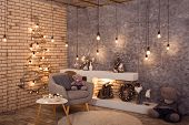 Winter Loft Style Room With Christmas Decoration poster