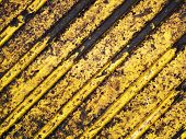 image of road sign  - Grunge dirty yellow caution stripes background - JPG