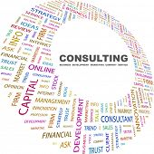 CONSULTING. Word collage on white background. Vector illustration. Illustration with different assoc