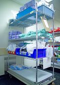 picture of medical supplies  - sterile supplies in a hospital central supply room  - JPG