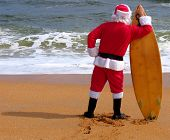 picture of santa-claus  - SANTA CLAUS LOOKING FOR THE PERFECT WAVE - JPG