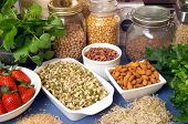 stock photo of healthy food  - still life of variety of healthy foods - JPG