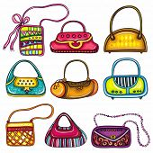 A set of beautifully designed colorful purses. Cute different shapes and prints. Totes, handbags, bu
