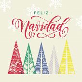 Colorful winter holiday spanish greeting card. Feliz Navidad Merry Christmas in Spain text Christmas poster