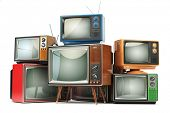 Heap of retro TV sets isolated on white background. Communication, media and television concept. 3d  poster
