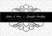 Vector ornate narrow frame with sample text and borders. Perfect as invitation or announcement. All
