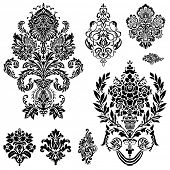 picture of damask  - Set of ornamental vector damask illustrations - JPG