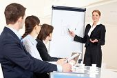 Smart and confident employee pointing at whiteboard while presenting her ideas to business partners