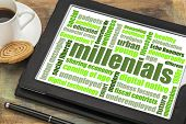 millenials word cloud on a digital tablet with a cup of coffee - demography concept poster