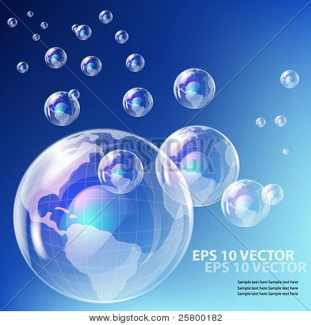 EPS10 vector realistic bubble -  earth globe against blue sky background.Earth Globe
