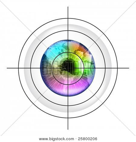 Target on earth globe in multicolor human eye. EPS10 vector illustration.