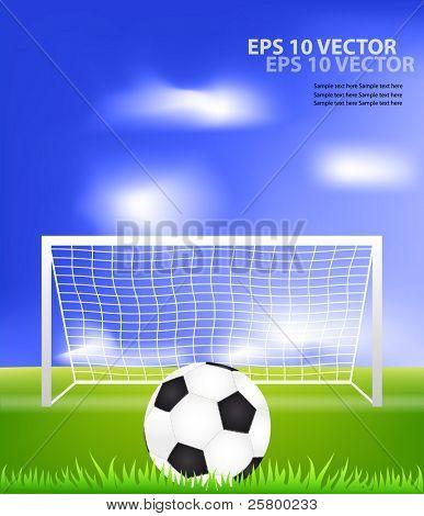 Soccer ball on grass against blue sky. EPS10 vector illustration.