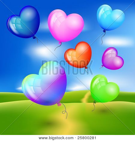 Vector realistic colorful balloons - hearts flying up against blue sky.