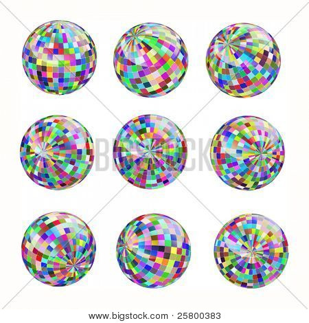 Set of nine abstract colorful mosaic globe