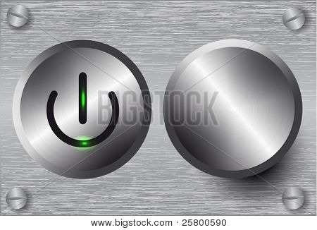 Vector power button and volume knob on metal background.
