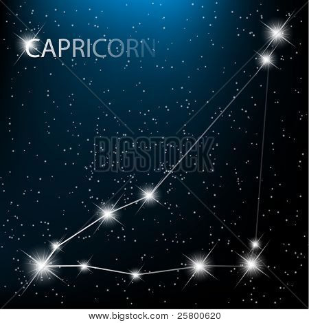 Capricorn vector Zodiac sign bright stars in cosmos.