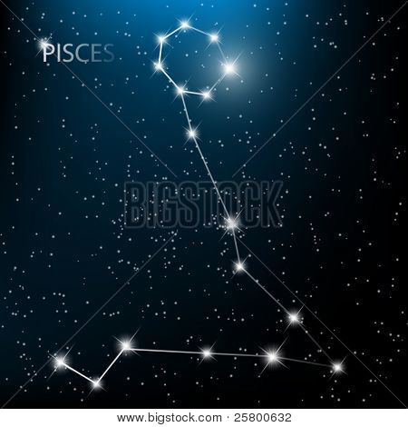 Pisces vector Zodiac sign bright stars in cosmos.