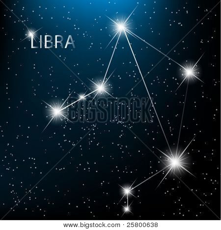 Libra vector Zodiac sign bright stars in cosmos.