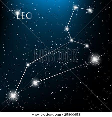 Leo vector Zodiac sign bright stars in cosmos.