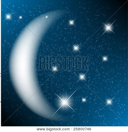 Space background with bright stars and moon.