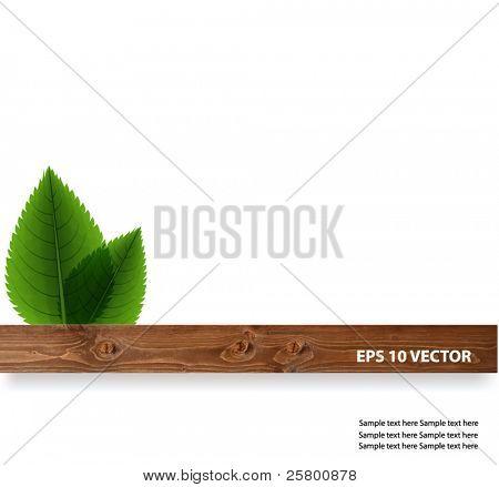 grüne Blätter mit Holz