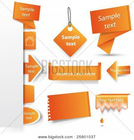 Vector orange tag set  isolated on white