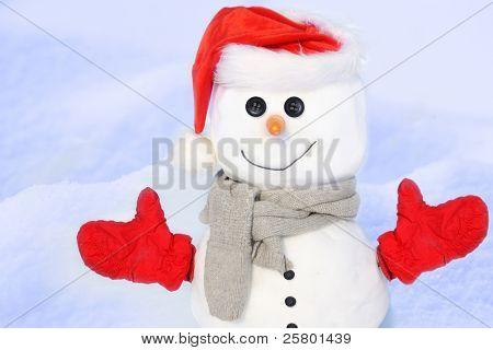 Boneco de neve contra campo nevado.