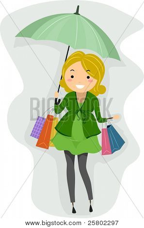 Illustration of a Pregnant Stickwoman Out Shopping