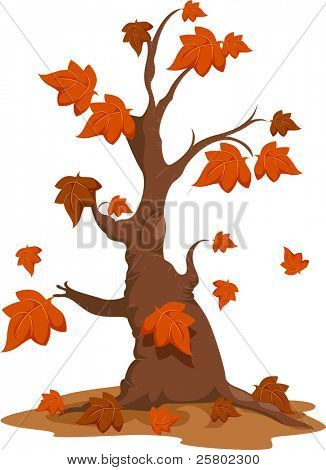 Illustration of an Autumn Tree with Falling Leaves