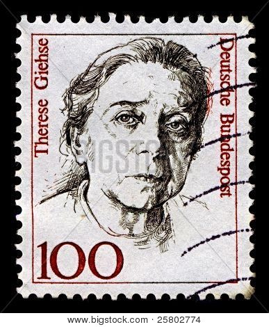 GERMANY-CIRCA 1988:A stamp printed in Germany shows image of Therese Giehse, born Therese Gift, was a distinguished German actress, circa 1988.