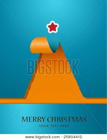 Árvore de Natal de papel rasgado com estrela na parte superior