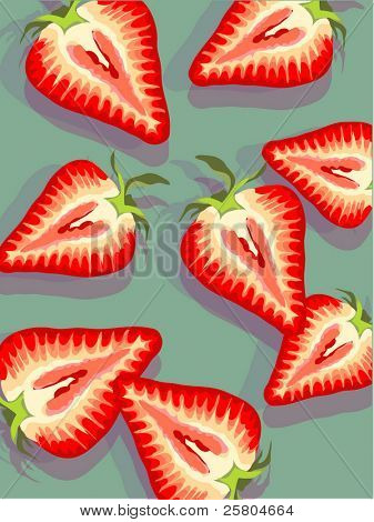 vector strawberries on bue