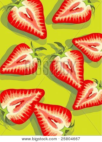vector strawberries on chartreuse