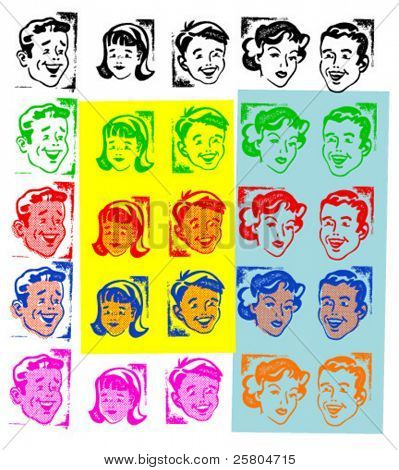 vector rubber stamps- retro heads