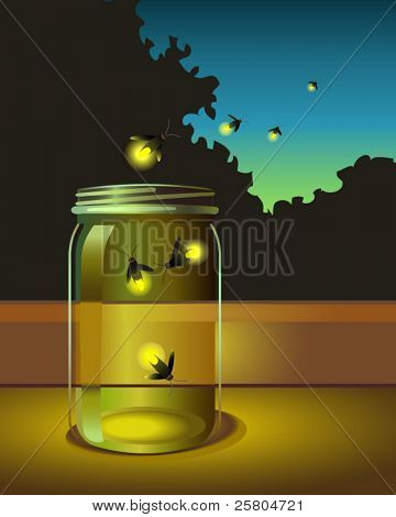 vector of fireflies escaping a glass jar