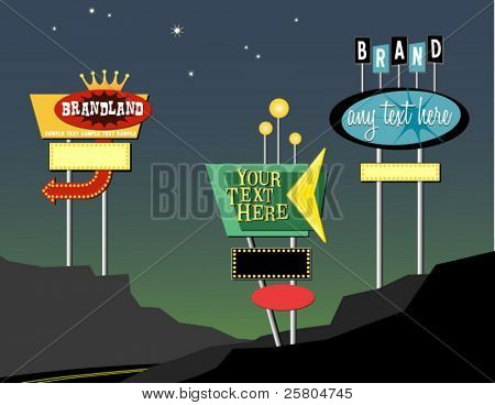 vector vintage sinais na estrada