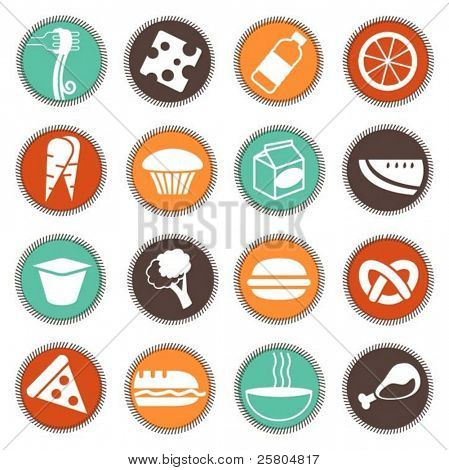 fresh food icons set 4