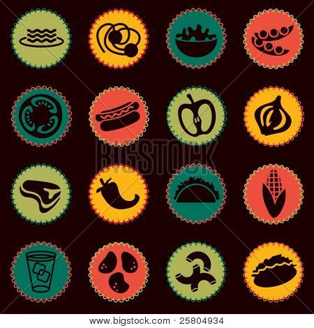 Vector alimentos icons set 6