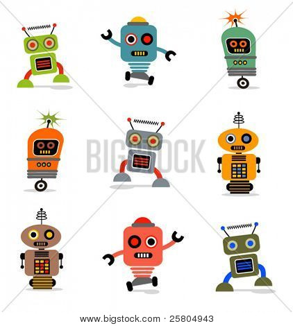 Robots cute little vector